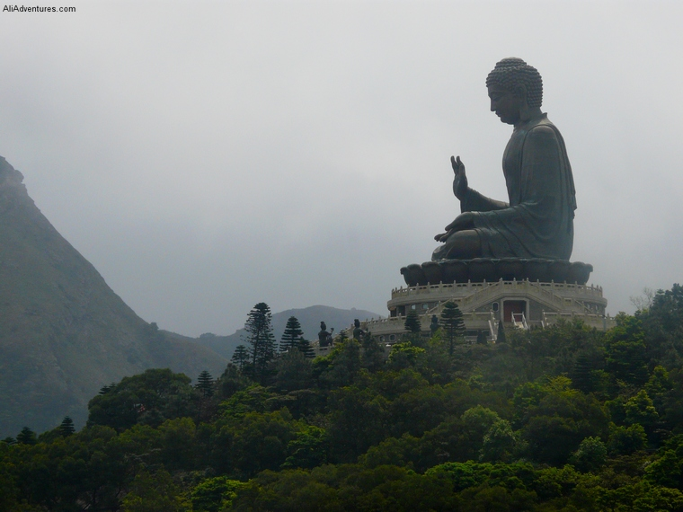 visiting Po Lin Monastery in Hong Kong