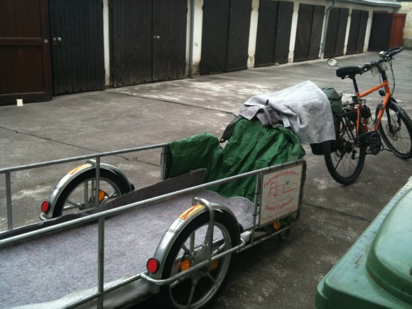 adjusting to life in Germany - bed delivered on a bike