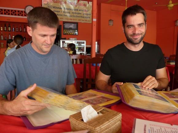 big menus in Siem Reap, Cambodia