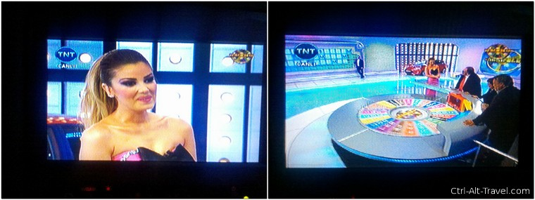 Turkish Wheel of Fortune on the bus TV