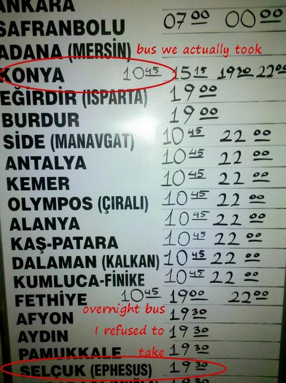 bus sign in Goreme, Turkey