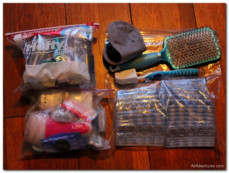 packing list for a 7 week trip in Europe - toiletries