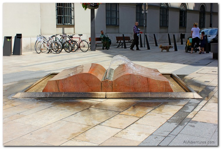 Working and traveling at the same time - Budapest book fountain