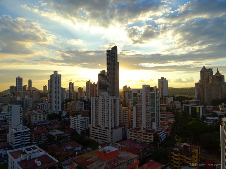 where to stay in Panama City - view of Panama City from the roof of our apartment building