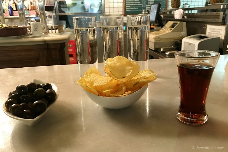 what to eat in Madrid - Madrid food tour olives and vermouth