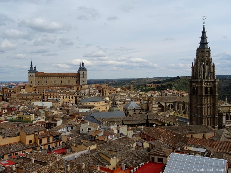 how much does it cost to travel to Toledo and Salamanca, Spain - The cathedral tower and the Alcazar in Toledo