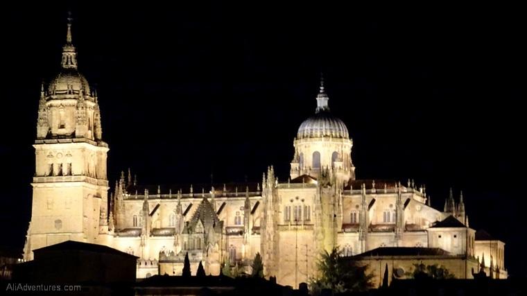 views of Salamanca cathedral at night