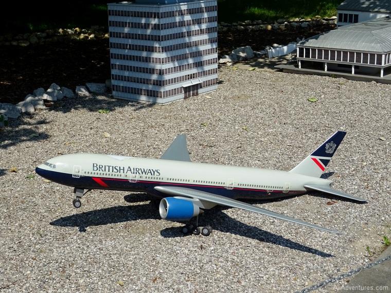 world of miniatures, Prague airport with British Airways plane - Ostrava