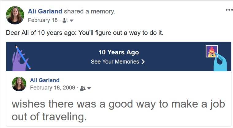 10 years of travel blogging - FB status 10 years ago