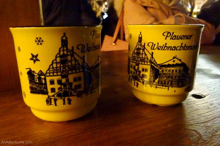 Plauen Germany Christmas market gluhwein mugs
