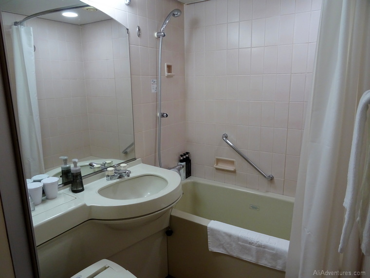 Japan budget where to stay in Hiroshima hotel bathroom