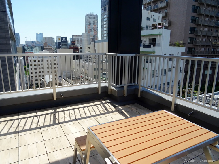 Japan budget where to stay in Tokyo Shibuya hotel balcony